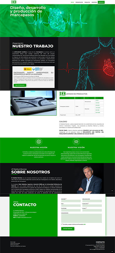 Diseño web Aitana Multimedia - Landing Page - IZ Medical Devices
